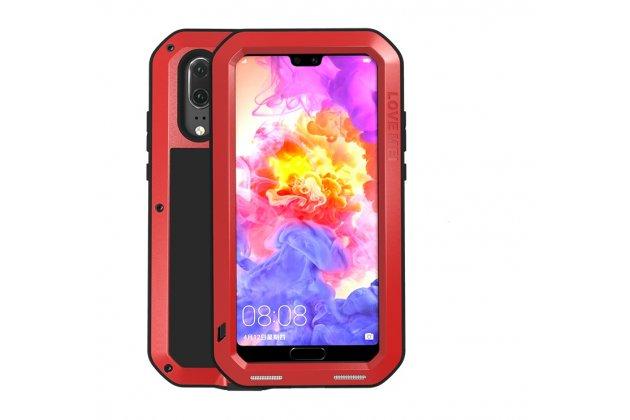 Неубиваемый водостойкий противоударный водонепроницаемый грязестойкий влагозащитный ударопрочный фирменный чехол-бампер для Huawei P20 Pro / Huawei P20 Plus  цельно-металлический со стеклом Gorilla Glass красный