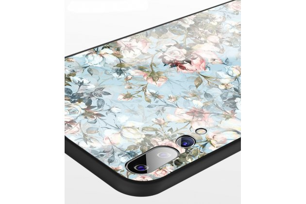 """Фирменный ультра-тонкий силиконовый чехол-бампер для Huawei P20 Pro / Huawei P20 Plus  с закаленным стеклом на заднюю крышку телефона """"тематика цветы"""""""