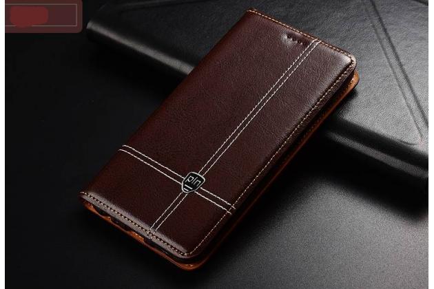 Фирменный премиальный чехол-книжка из качественной импортной кожи с мульти-подставкой и визитницей для Huawei P20 Plus коричневый