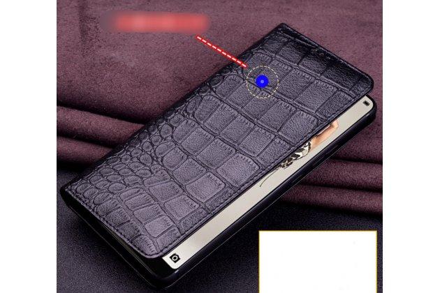 Фирменный роскошный эксклюзивный чехол с фактурной прошивкой рельефа кожи крокодила коричневый для Huawei P20 Pro / Huawei P20 Plus. Только в нашем магазине. Количество ограничено