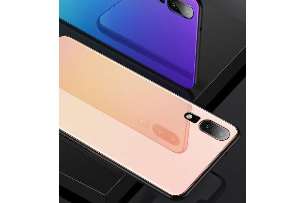 Фирменный ультра-тонкий силиконовый чехол-бампер для Huawei P20 Pro / Huawei P20 Plus  с закаленным стеклом на заднюю крышку телефона розовое золото