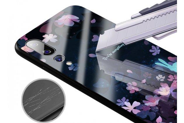"""Фирменный ультра-тонкий силиконовый чехол-бампер для Huawei P20 Pro / Huawei P20 Plus  с закаленным стеклом на заднюю крышку телефона """"тематика Лепестки"""""""