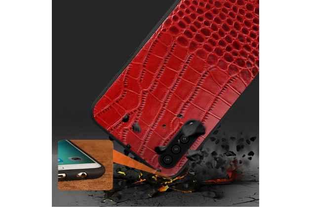 Фирменная элегантная экзотическая задняя панель-крышка с фактурной отделкой кожи крокодила красного цвета для Huawei P20 Pro / Huawei P20 Plus . Только в нашем магазине. Количество ограничено.