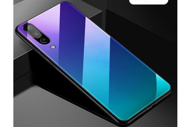 Фирменный ультра-тонкий силиконовый чехол-бампер для Huawei P20 Pro / Huawei P20 Plus  с закаленным стеклом на заднюю крышку телефона синий