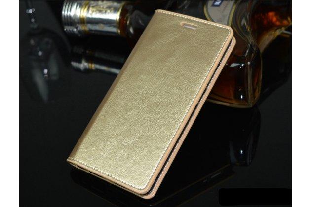 Фирменный чехол-книжка из качественной импортной кожи с подставкой и визитницей для Huawei P20 Pro / Huawei P20 Plus  золотой