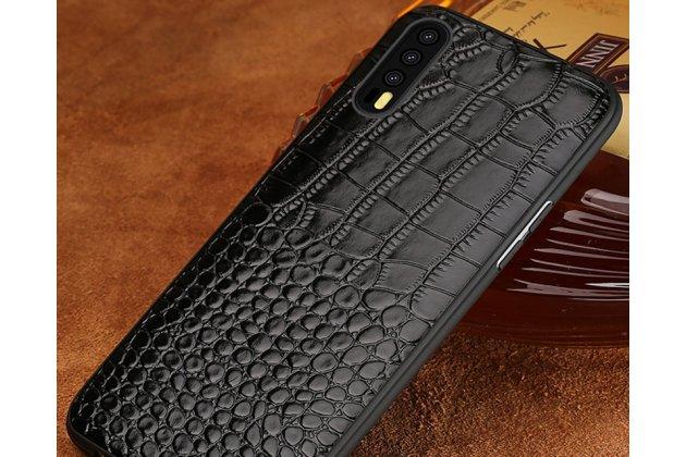 Фирменная элегантная экзотическая задняя панель-крышка с фактурной отделкой кожи крокодила черного цвета для Huawei P20 Pro / Huawei P20 Plus . Только в нашем магазине. Количество ограничено.