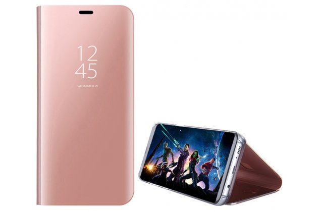 """Чехол-книжка с дизайном """"Clear View Standing Cover"""" полупрозрачный с зеркальной поверхностью для Huawei P20 Pro / Huawei P20 Plus  розовое золото"""