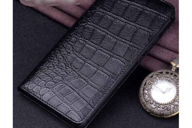 Фирменный роскошный эксклюзивный чехол с фактурной прошивкой рельефа кожи крокодила черный для Huawei P20 Pro / Huawei P20 Plus. Только в нашем магазине. Количество ограничено
