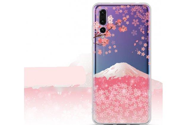 """Фирменная роскошная задняя панель-чехол-накладка  из мягкого силикона с безумно красивым расписным 3D рисунком на Huawei P20 Pro / Huawei P20 Plus  """"тематика Горный пейзаж"""""""