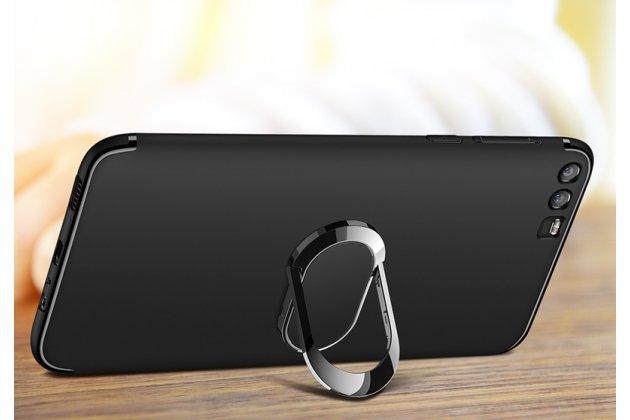 Задняя панель-крышка из из тончайшего и прочного силикона с матовым противоскользящим покрытием для Huawei P20 Pro / Huawei P20 Plus  с магнитным держателем в черном цвете