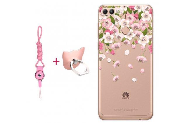 """Фирменная задняя панель-чехол-накладка из прозрачного 3D  силикона с объёмным рисунком для Huawei Y9 (2018) / Huawei Enjoy 8 Plus  тематика """"Цветок вишни"""" которая огибает логотип чтобы была видна марка телефона"""