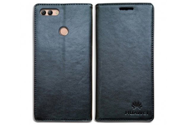 Фирменный премиальный элитный чехол-книжка с логотипом из качественной импортной кожи с мульти-подставкой и визитницей для Huawei Y9 (2018) / Huawei Enjoy 8 Plus черный