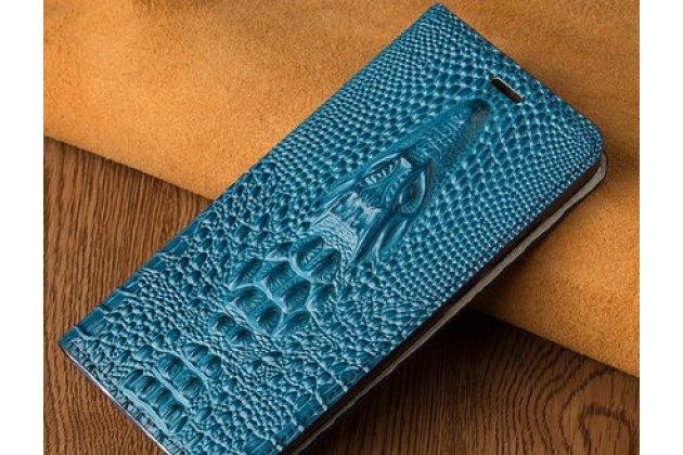 Фирменный роскошный эксклюзивный чехол с объёмным 3D изображением кожи крокодила синий для Huawei Y9 (2018) / Huawei Enjoy 8 Plus . Только в нашем магазине. Количество ограничено