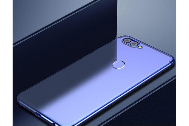 Фирменная задняя панель-чехол-накладка с защитными заглушками с защитой боковых кнопок для Huawei Y9 (2018) / Huawei Enjoy 8 Plus  прозрачная синяя