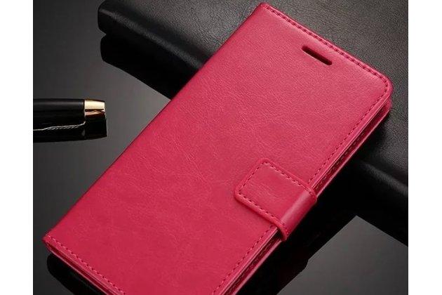 Фирменный чехол-книжка из качественной импортной кожи с подставкой застёжкой и визитницей для Huawei Y9 (2018) / Huawei Enjoy 8 Plus  розовый