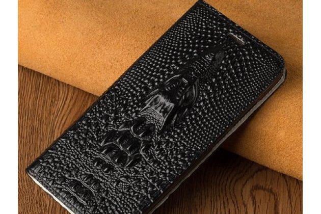 Фирменный роскошный эксклюзивный чехол с объёмным 3D изображением кожи крокодила черный для Huawei Y9 (2018) / Huawei Enjoy 8 Plus . Только в нашем магазине. Количество ограничено
