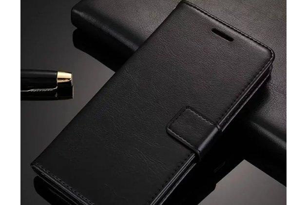 Фирменный чехол-книжка из качественной импортной кожи с подставкой застёжкой и визитницей для Huawei Y9 (2018) / Huawei Enjoy 8 Plus  черный
