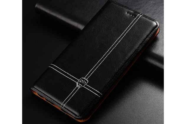 Фирменный премиальный элитный чехол-книжка из качественной импортной кожи с мульти-подставкой и визитницей для Huawei Y9 (2018) / Huawei Enjoy 8 Plus черный