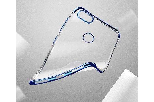 Фирменная задняя панель-чехол-накладка с защитными заглушками с защитой боковых кнопок для Huawei Y9 (2018) / Huawei Enjoy 8 Plus  прозрачная золотая