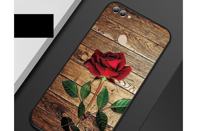 """Фирменная роскошная задняя панель-чехол-накладка  из мягкого силикона с безумно красивым расписным 3D рисунком на Huawei Y9 (2018) / Huawei Enjoy 8 Plus """"тематика Роза"""""""