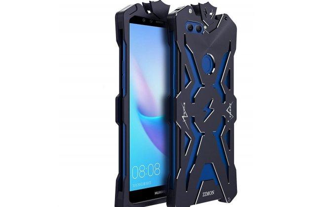 Противоударный металлический чехол-бампер из цельного куска металла с усиленной защитой углов и необычным экстремальным дизайном  для  Huawei Y9 (2018) / Huawei Enjoy 8 Plus  черного цвета