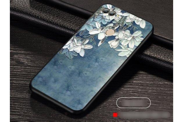 """Фирменная роскошная задняя панель-чехол-накладка  из мягкого силикона с безумно красивым расписным 3D рисунком на Huawei Y9 (2018) / Huawei Enjoy 8 Plus """"тематика Белая Магнолия"""""""