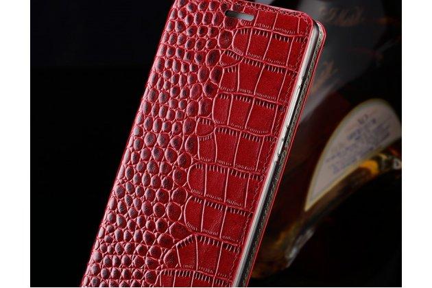 Фирменный роскошный эксклюзивный чехол с фактурной прошивкой рельефа кожи крокодила и визитницей красный для Huawei Y9 (2018) / Huawei Enjoy 8 Plus. Только в нашем магазине. Количество ограничено