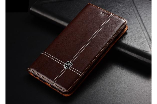 Фирменный премиальный элитный чехол-книжка из качественной импортной кожи с мульти-подставкой и визитницей для Huawei Y9 (2018) / Huawei Enjoy 8 Plus коричневый