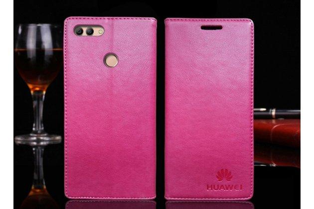 Фирменный премиальный элитный чехол-книжка с логотипом из качественной импортной кожи с мульти-подставкой и визитницей для Huawei Y9 (2018) / Huawei Enjoy 8 Plus розовый