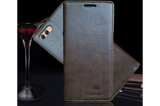 Фирменный премиальный элитный чехол-книжка с логотипом из качественной импортной кожи с мульти-подставкой и визитницей для Huawei Y9 (2018) / Huawei Enjoy 8 Plus коричневый