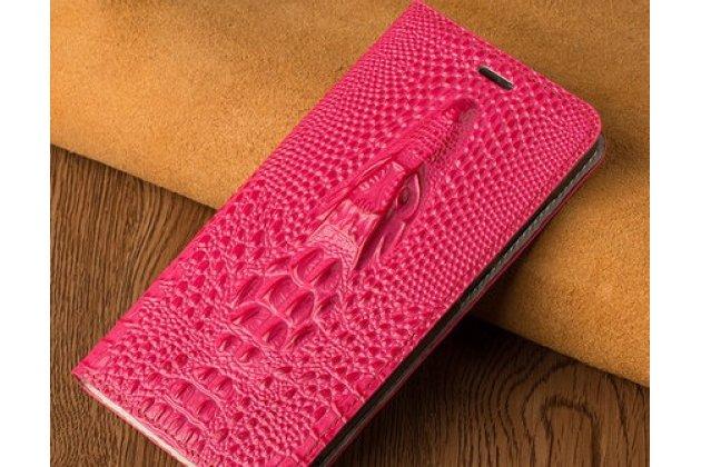 Фирменный роскошный эксклюзивный чехол с объёмным 3D изображением кожи крокодила розовый для Huawei Y9 (2018) / Huawei Enjoy 8 Plus  Только в нашем магазине. Количество ограничено