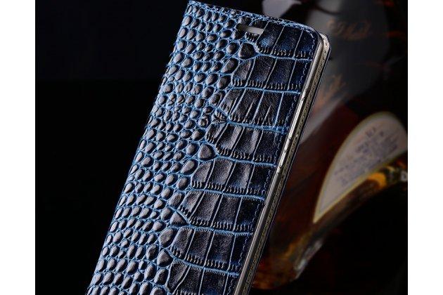 Фирменный роскошный эксклюзивный чехол с фактурной прошивкой рельефа кожи крокодила и визитницей синий для Huawei Y9 (2018) / Huawei Enjoy 8 Plus. Только в нашем магазине. Количество ограничено
