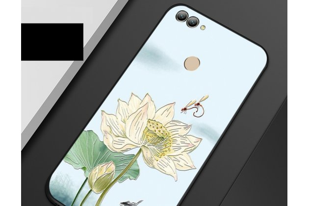 """Фирменная роскошная задняя панель-чехол-накладка  из мягкого силикона с безумно красивым расписным 3D рисунком на Huawei Y9 (2018) / Huawei Enjoy 8 Plus """"тематика Цветок лотоса"""""""