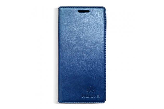 Фирменный премиальный элитный чехол-книжка с логотипом из качественной импортной кожи с мульти-подставкой и визитницей для Huawei Y9 (2018) / Huawei Enjoy 8 Plus синий
