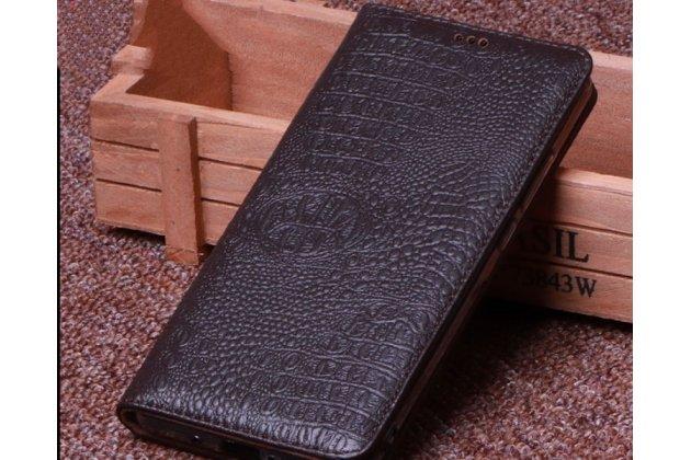 Фирменный роскошный эксклюзивный чехол с фактурной прошивкой рельефа кожи крокодила коричневый для Lenovo S5 / Lenovo K520. Только в нашем магазине. Количество ограничено