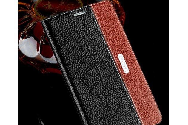 Фирменный премиальный элитный чехол-книжка из качественной импортной кожи с мульти-подставкой и визитницей для Lenovo S5 / Lenovo K520 черно-коричневый