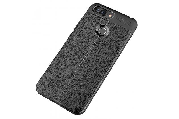 Фирменная премиальная элитная крышка-накладка на Lenovo S5 / Lenovo K520 черная из качественного силикона с дизайном под кожу