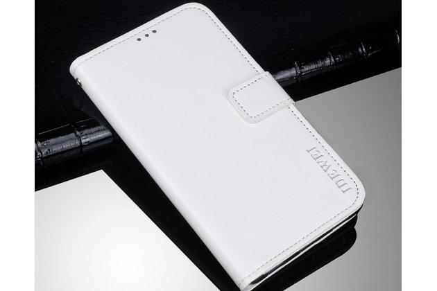 Фирменный чехол-книжка из качественной импортной кожи с подставкой застёжкой и визитницей для Lenovo S5 / Lenovo K520 белый