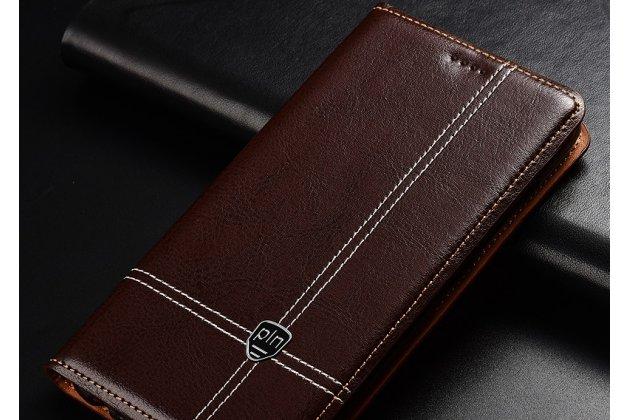 Фирменный премиальный элитный чехол-книжка из качественной импортной кожи с мульти-подставкой и визитницей для Lenovo S5 / Lenovo K520 коричневый