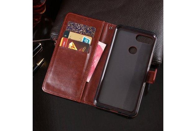 Фирменный чехол-книжка из качественной импортной кожи с подставкой застёжкой и визитницей для Lenovo S5 / Lenovo K520 желтый