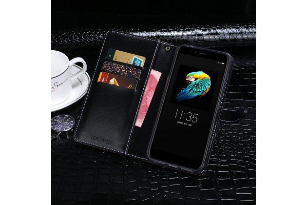 Фирменный роскошный эксклюзивный чехол с фактурной прошивкой рельефа кожи крокодила и визитницей черный для Lenovo S5 / Lenovo K520. Только в нашем магазине. Количество ограничено