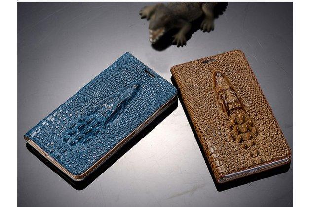 Фирменный роскошный эксклюзивный чехол с объёмным 3D изображением кожи крокодила синий для Lenovo S5 / Lenovo K520 . Только в нашем магазине. Количество ограничено