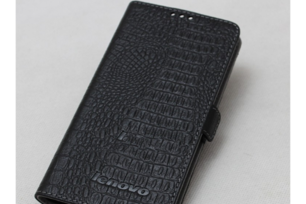 Фирменный оригинальный подлинный чехол с логотипом для Lenovo S5 / Lenovo K520 из натуральной кожи крокодила черный
