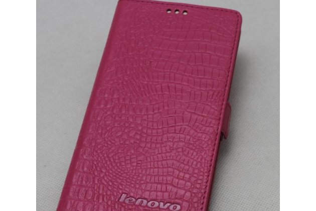Фирменный оригинальный подлинный чехол с логотипом для Lenovo S5 / Lenovo K520 из натуральной кожи крокодила розовый