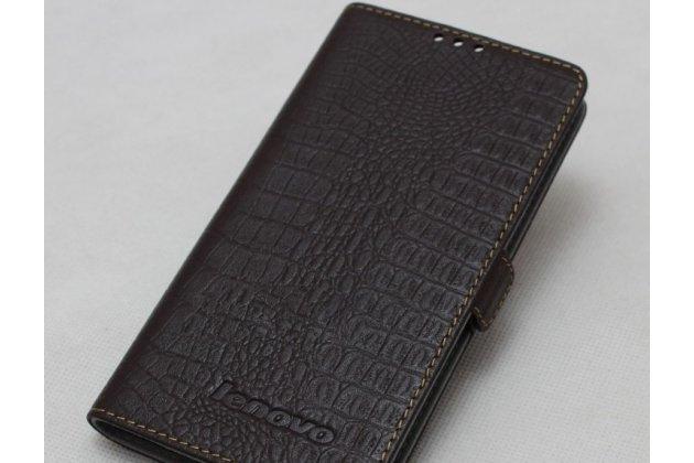 Фирменный оригинальный подлинный чехол с логотипом для Lenovo S5 / Lenovo K520 из натуральной кожи крокодила темно-коричневый