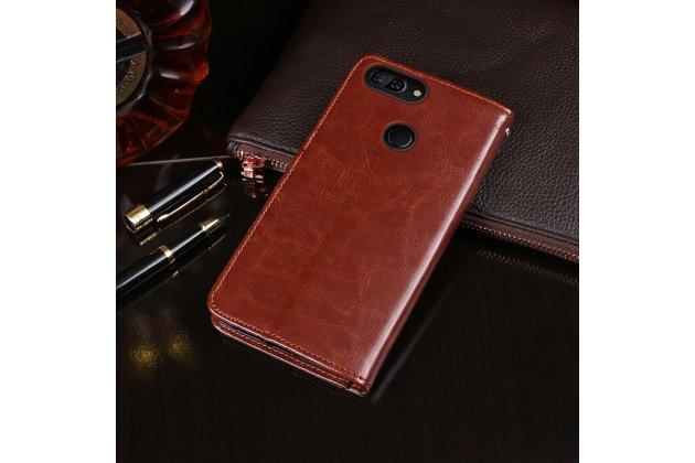Фирменный чехол-книжка из качественной импортной кожи с подставкой застёжкой и визитницей для Lenovo S5 / Lenovo K520 коричневый