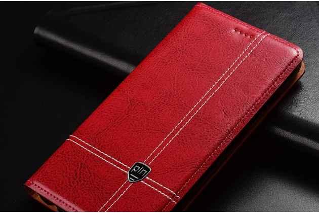 Фирменный премиальный элитный чехол-книжка из качественной импортной кожи с мульти-подставкой и визитницей для Lenovo S5 / Lenovo K520 красный
