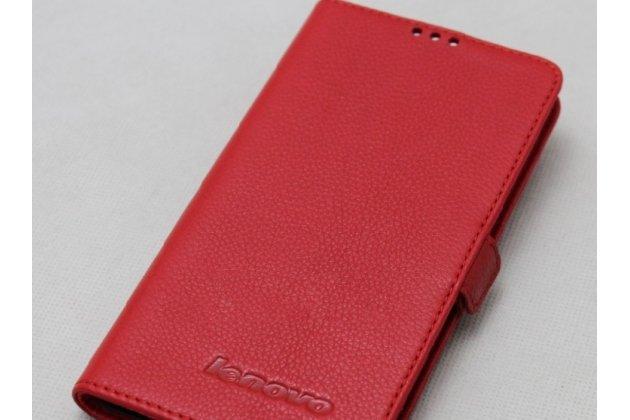 Фирменный оригинальный подлинный чехол с логотипом для Lenovo S5 / Lenovo K520 из натуральной кожи крокодила красный