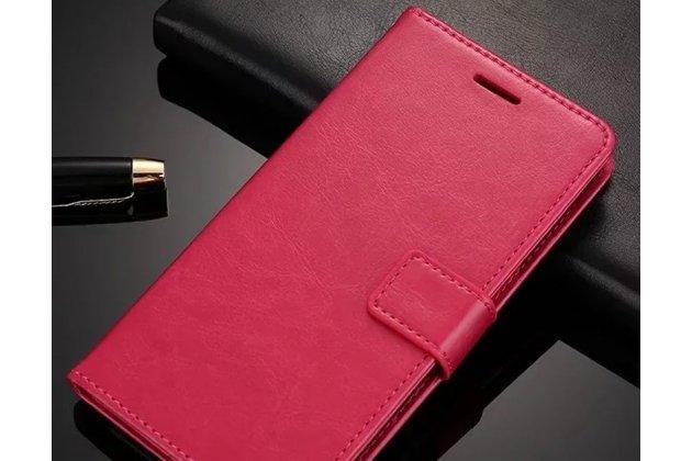 Фирменный чехол-книжка из качественной импортной кожи с подставкой застёжкой и визитницей для Huawei P20 Lite / Nova 3e розовый