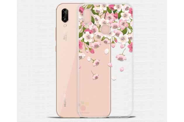"""Фирменная задняя панель-чехол-накладка из прозрачного 3D  силикона с объёмным рисунком для Huawei P20 Lite / Nova 3e тематика """"Цветок вишни"""" которая огибает логотип чтобы была видна марка телефона"""